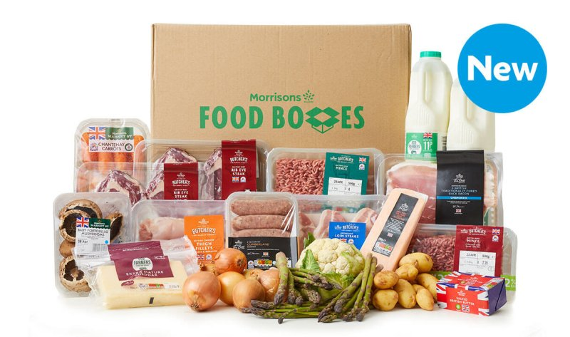 The 10kg box includes British produced food such as asparagus and Jersey Royals, plus ribeye steaks, sausages and cheeses