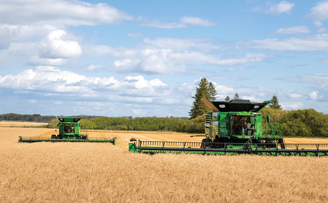 The new X9 1100 combine can harvest up to 30 acres of wheat per hour