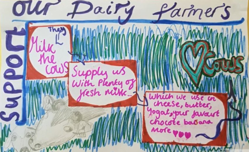School children produced posters highlighting the issues dairy farmers have faced