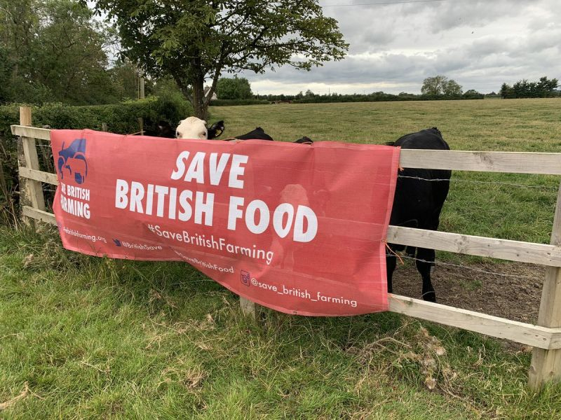 The new banners urge MPs to uphold UK standards in any post-Brexit trade deal (Photo: Save British Farming/Twitter)