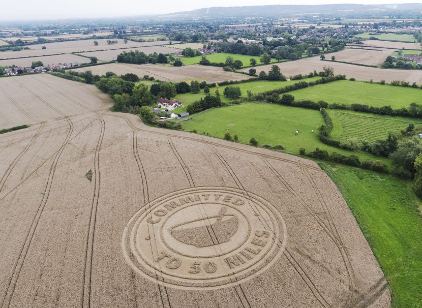 A Buckinghamshire farmer has unveiled a crop circle to raise awareness of buying local