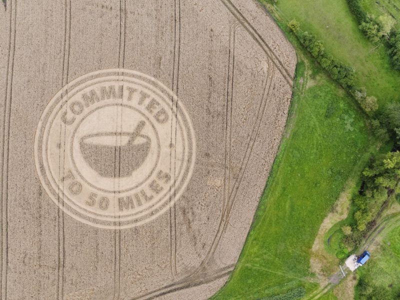 The crop circle highlights Weetabix's commitment to working with local farmers