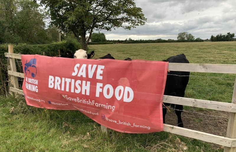Farmers have been displaying banners demanding the government uphold UK standards (Photo: Save British Farming/Twitter)