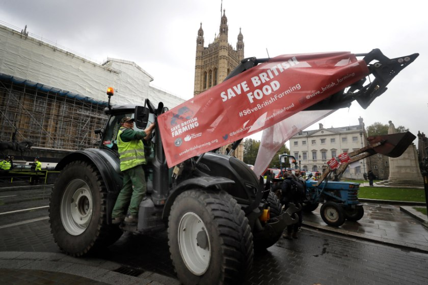 Farmers protested outside parliament ahead of the crucial vote (Photo: Kirsty Wigglesworth/AP/Shutterstock)
