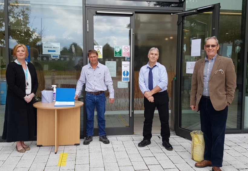 Growers Simon Redden, Peter Thorold and John Bratley with Ruth Ashfield, AHDB Strategy Director Horticulture