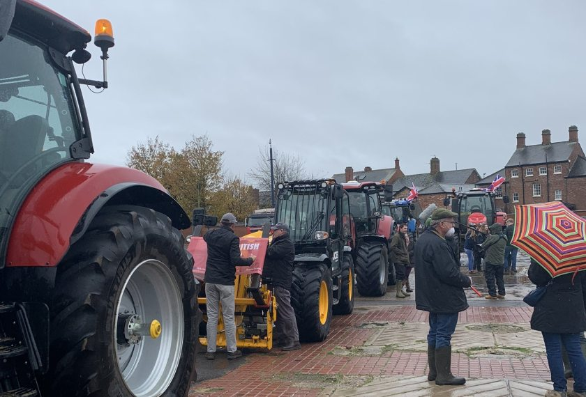 Farmers demonstrated against moves to permit lower-quality food imports post-Brexit (Photo: Save British Farming)
