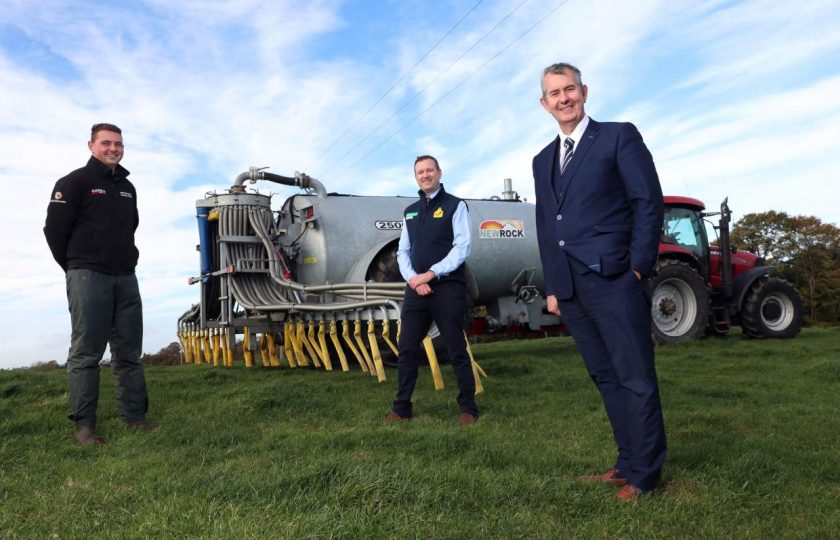 Co Armagh farmer Simon Meredith (middle) used the fund to buy a 2,000 gallon slurry tanker fitted with a dribble bar slurry distribution system