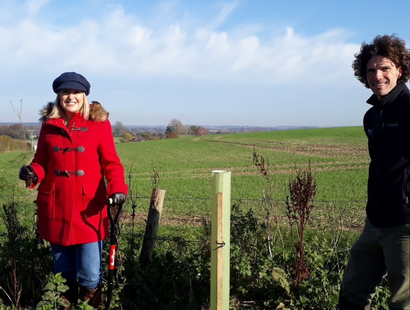 TV presenter Nicki Chapman planted the first tree at Hamilton Farm, near Beauworth