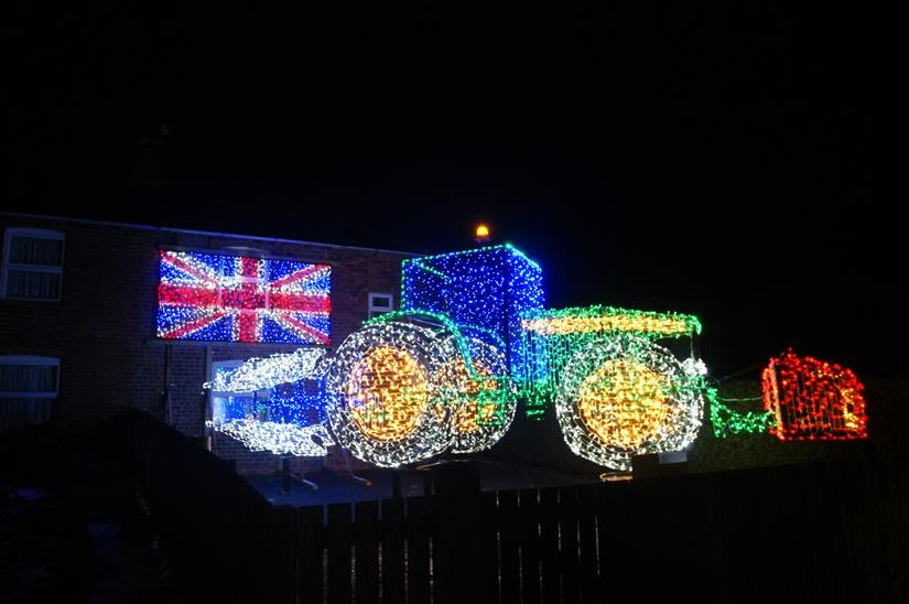 A replica of a John Deere 6155m has been made with lights (Photo: Andrew Wilkinson/The Christmas Tractor)