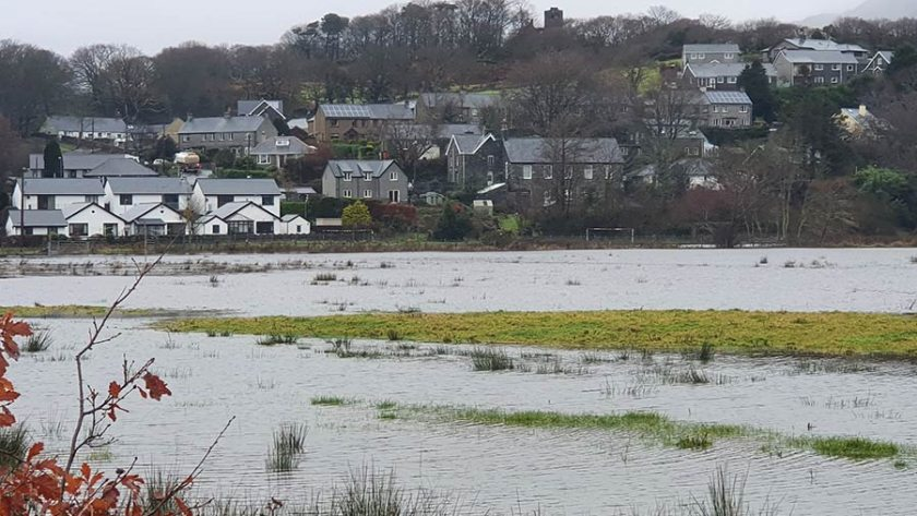 Hundreds of acres of farmland at Llanfrothen near Porthmadog is currently submerged