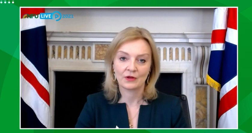Liz Truss told the NFU's virtual annual conference that farmers need to capitalise on untapped markets
