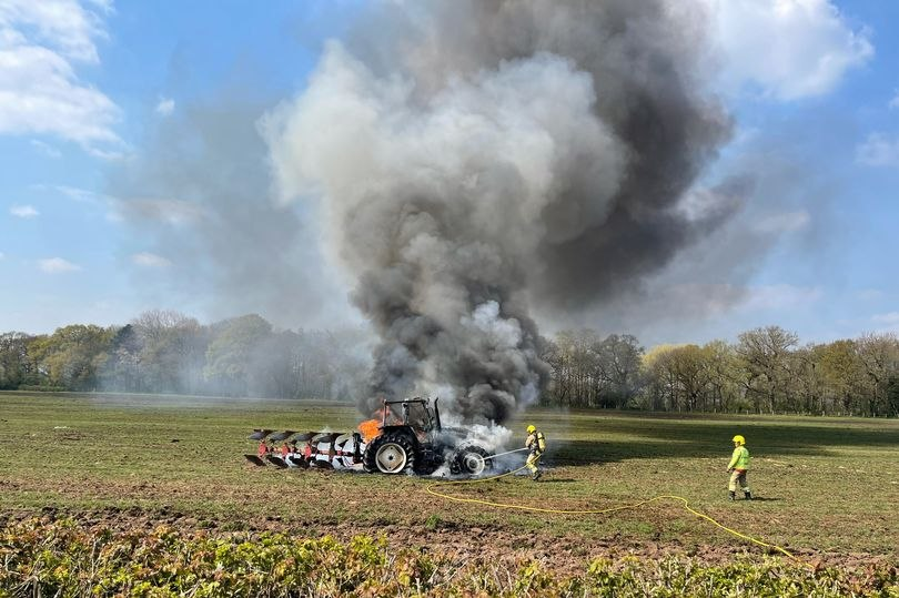 Firefighters tackle a tractor fire in Cheshire on Saturday (Photo: Cheshire Fire and Rescue Service)