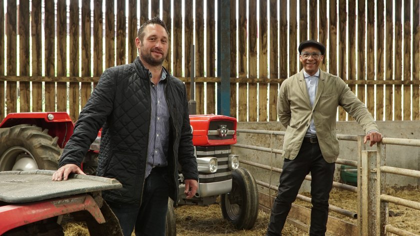 Farmer Sam Stables (L) will feature in tonight's episode of Jay's Yorkshire Workshop